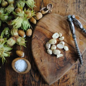Green gunslebert cobnuts with salt and antique cobnut crackers