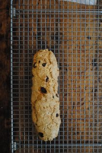 Biscotti with cranberry and cobnuts on cooling rack
