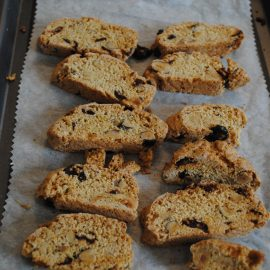 Sliced biscotti with cranberry and cobnuts