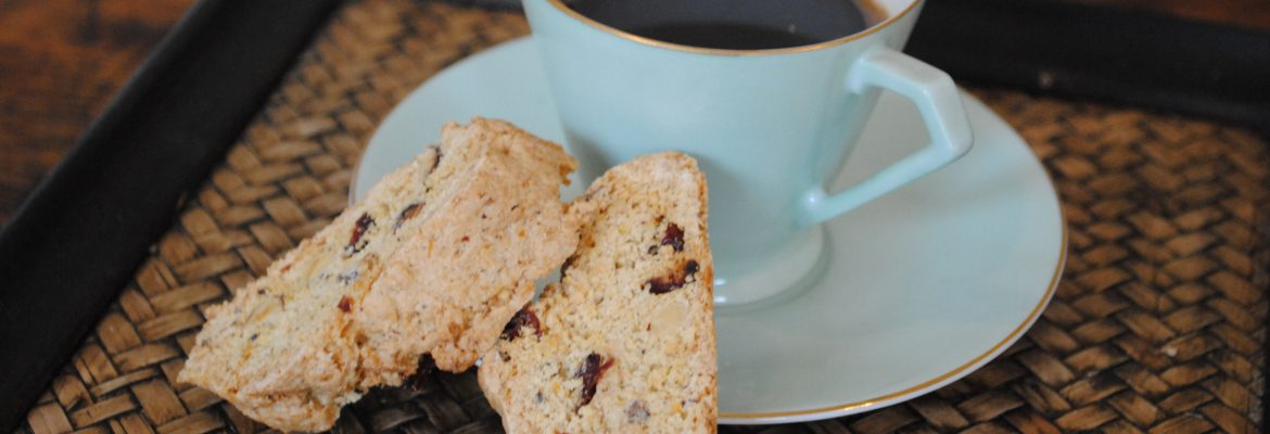 Kent Cobnut Biscotti next to cup of coffee