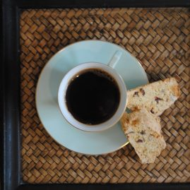 Kentish cobnut biscotti and coffee from above