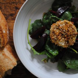 Sour dough bread and Cobnut crusted goat's cheese