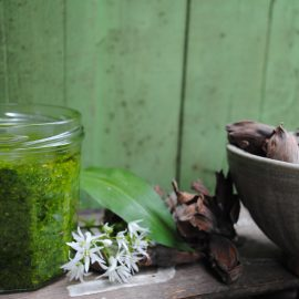 Wild garlic and cobnut pesto