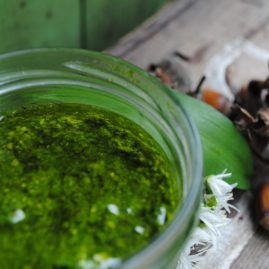 Wild garlic and cobnut pesto from above