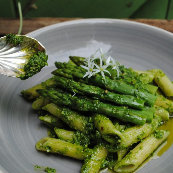 Ornate spoon serving kentish cobnut pesto