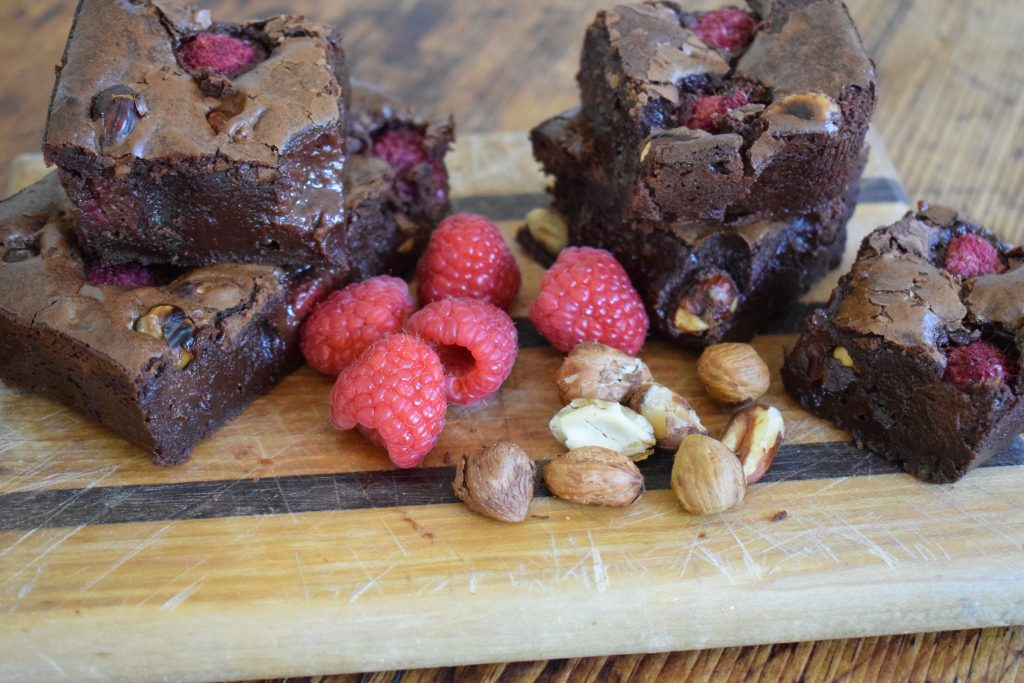 Cobnut Brownies with tasty raspberries