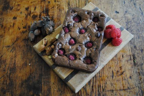 Brownies full of kent cobnuts and raspberries