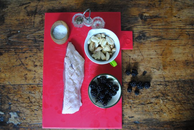 Ingredients for duck and cobnut recipe