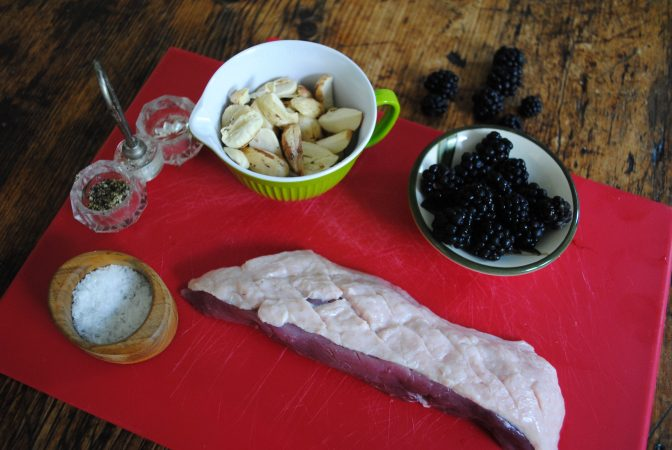 Ingredients for duck, cobnuts and blackberries recipe