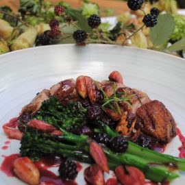 Kentish cobnuts, duck, blackberries and spring broccoli