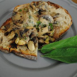 Sour dough toast, creamed mushrooms and cobnuts