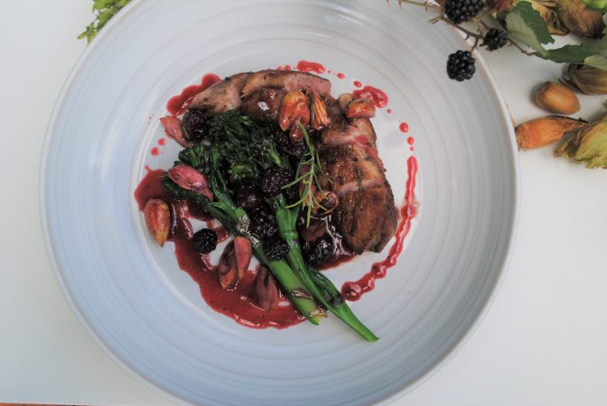 Cobnut and duck with blackberries