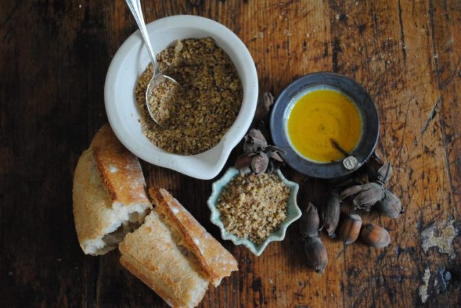 Cobnut Dukkah and sour dough bread with oil