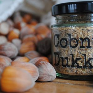 Handmade cobnut dukkah and bag of cobnuts