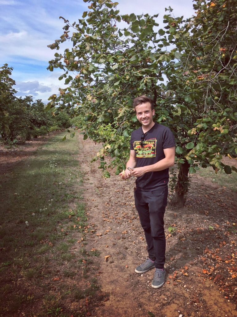 Tom visiting the hazelnut collection in Oregon