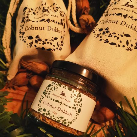 Jar of cobnut dukkah and cobnuts
