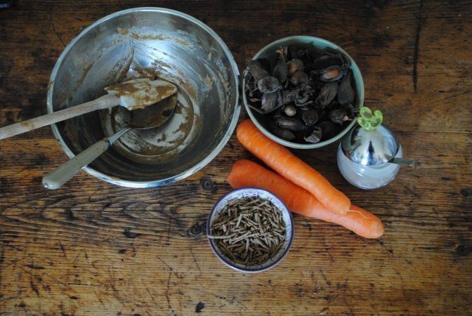 From above Ingredients for Carrot and cobnut muffins recipe