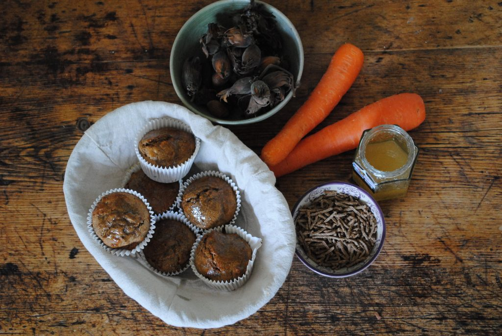 Carrot and Kent cobnut muffins recipe