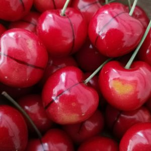 close up of fresh marble cherries
