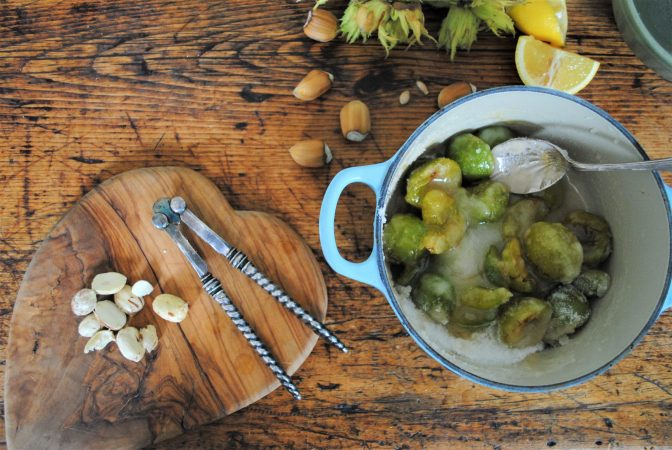 Fresh Cobnuts with greengages and nut crackers