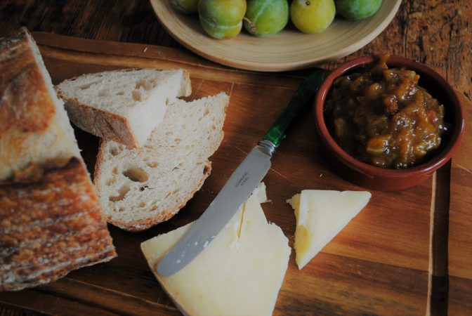 Cheese, bread and cobnut & greengage chutney